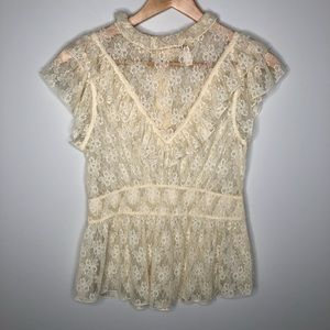 Free People Victorian High Neck Lace Top Small